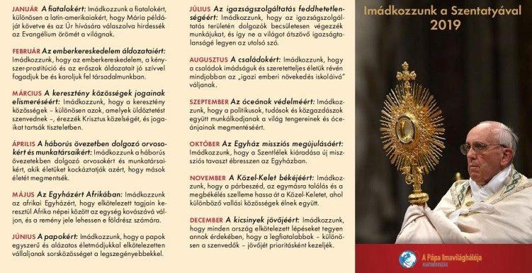 Ferenc pápa januári imaszándéka